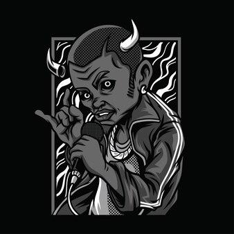 Illustrazione in bianco e nero di morte del diavolo