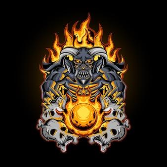 La palla di fuoco del diavolo con l'osso del cranio