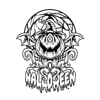Illustrazione di halloween del diavolo in bianco e nero