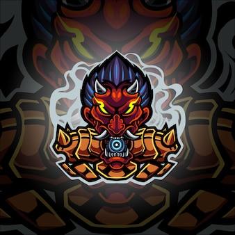 Logo della mascotte esport testa di diavolo