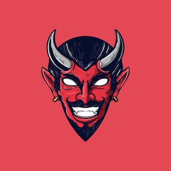 Mascotte di vettore dell'illustrazione della testa del diavolo