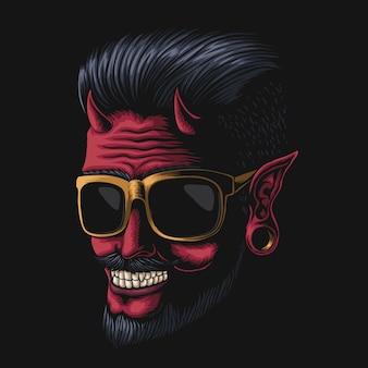 Illustrazione di occhiali da vista uomo diavolo
