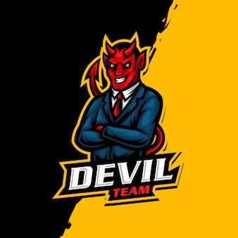 Gioco di esport del logo della mascotte del diavolo