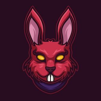 Illustrazione del modello di logo del fumetto della testa di animale del coniglio del diavolo. esport logo gaming