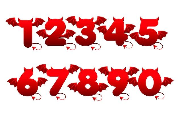 Numeri rossi del diavolo con le ali per i giochi dell'interfaccia utente.
