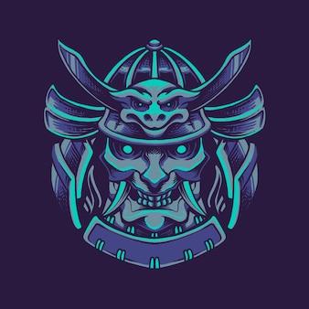 Illustrazione della maschera del samurai del diavolo