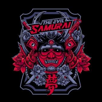 Samurai diavolo con illustrazione vettoriale faccia arrabbiata