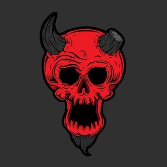 Illustrazione del cranio del diavolo. disegnato a mano.