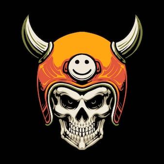 Disegno dell'illustrazione del motociclo del cranio del diavolo