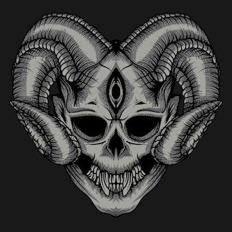 Cranio del diavolo premium vettore