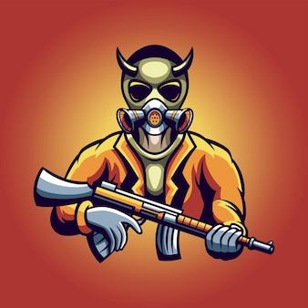 Logo di gioco esport del soldato del diavolo