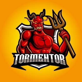 Logo di esport della mascotte arrabbiata forte del diavolo
