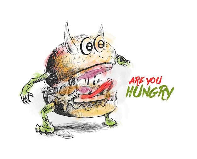 Illustrazione di vettore di schizzo disegnato a mano dell'hamburger di stile del diavolo