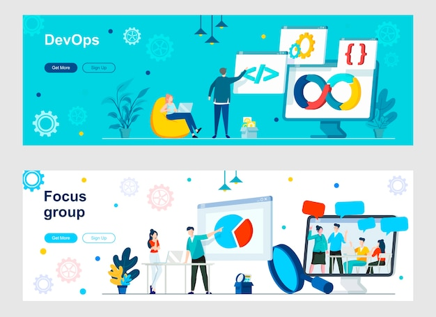 Devops e set di pagine di destinazione del focus group