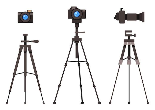 Fotocamera digitale moderna set piatto con lenti rimovibili