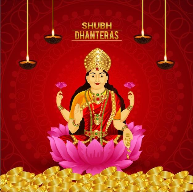 Biglietto celebrativo dhanteras con illustrazione vettoriale della dea laxami