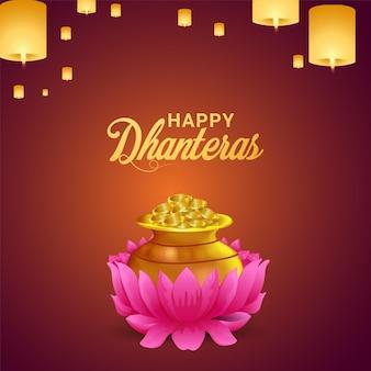Dhanteras il festival dell'india con pentola di monete d'oro e lampada diwali