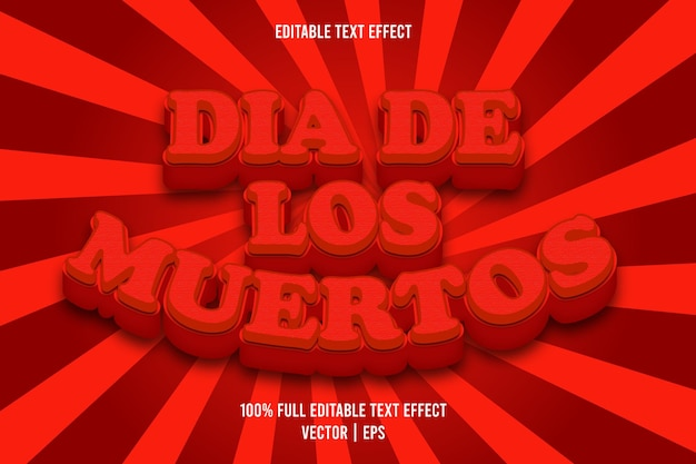Dia de los muertos 3 dimensioni effetto testo modificabile colore rosso