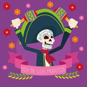 Scheda di celebrazione del dia de los muertos con lo scheletro di mariachi che gioca l'illustrazione di vettore delle maracas