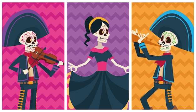 Scheda di celebrazione di dia de los muertos con personaggi di colori di gruppo di scheletri