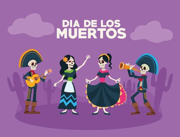 Scheda di celebrazione di dia de los muertos con gruppo di scheletri nella scena del deserto