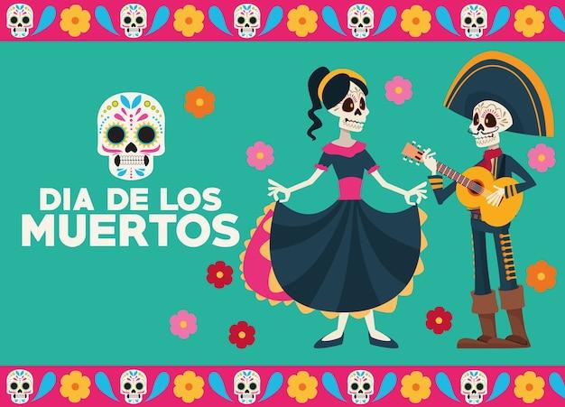Cartolina d'auguri di celebrazione del dia de los muertos con coppia di scheletri