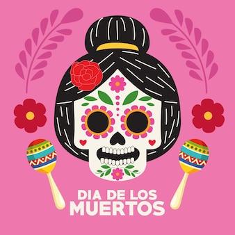 Manifesto di celebrazione di dia de los muertos con disegno di illustrazione vettoriale di testa di catrina e maracas