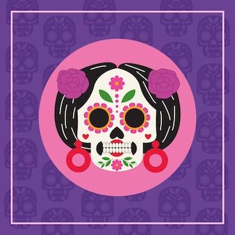 Manifesto di celebrazione di dia de los muertos con disegno di illustrazione vettoriale testa di catrina
