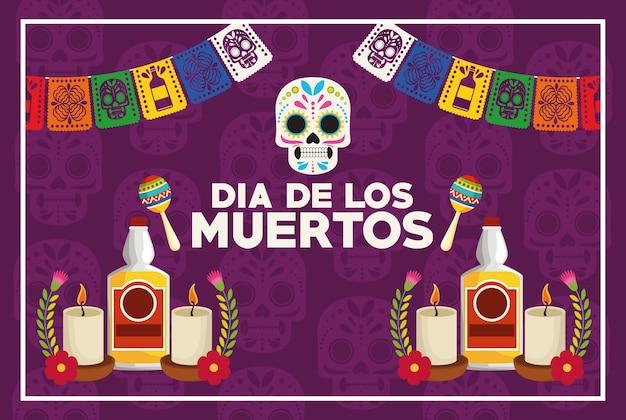 Dia de los muertos celebrazione poster con teschio e bottiglie di tequila illustrazione vettoriale design