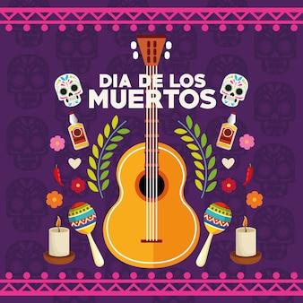 Manifesto di celebrazione di dia de los muertos con coppia di teschi e set di icone illustrazione vettoriale design