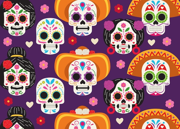 Manifesto di celebrazione di dia de los muertos con progettazione dell'illustrazione di vettore del modello di gruppo di teste di teschi