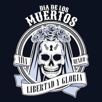 Celebrazione del dia de los muertos con progettazione dell'illustrazione di vettore del nastro e del cranio della donna