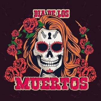 Celebrazione del dia de los muertos con progettazione dell'illustrazione di vettore della corona delle rose e del cranio della donna