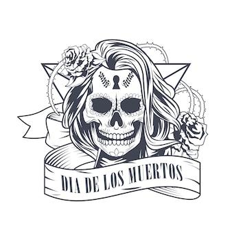 Celebrazione del dia de los muertos con disegno dell'illustrazione di vettore del cranio della donna