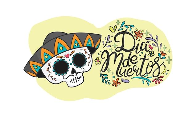 Dia de los muertos, illustrazione del giorno dei morti con teschio di zucchero