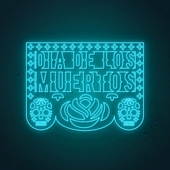 Dia de los muertos - day of the dead, stile neon messicano