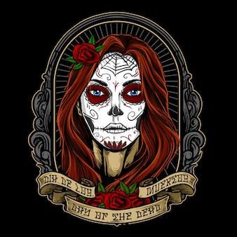 Progettazione di vettore della pittura del fronte della ragazza di dia de los muertos