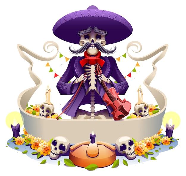 Dia de los muertos festa messicana vecchio musicista violino