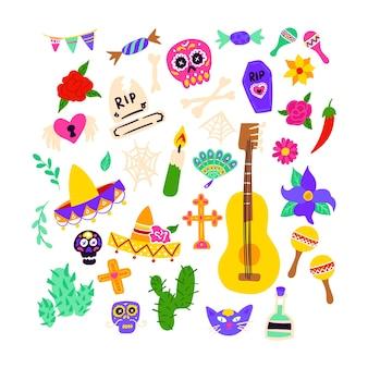 Oggetti del dia de los muertos. illustrazione di vettore dei simboli di festa messicana. giorno della morte.