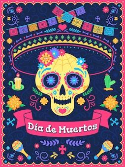Locandina del giorno dei muertos. festa del giorno morto, teschio con fiori, nastri e testo, tradizionale festival latino messicano, sfondo vettoriale. bandiere colorate, candele e cactus, celebrazione delle vacanze
