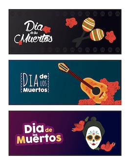 Poster dia de los muertos con teschio e strumenti katrina