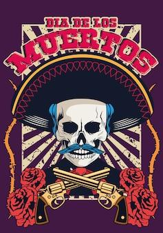 Dia de los muertos poster con teschio mariachi e pistole incrociate illustrazione vettoriale design
