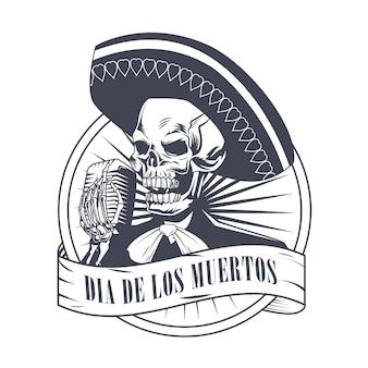 Poster dia de los muertos con teschio mariachi che canta con disegno di illustrazione vettoriale di disegno del microfono