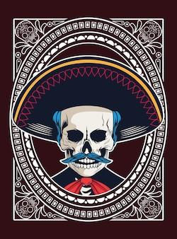 Poster dia de los muertos con disegno di illustrazione vettoriale teschio mariachi
