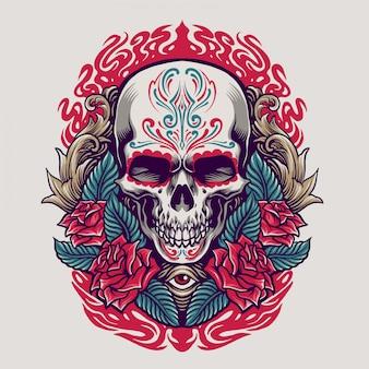 Illustrazione del cranio del dia de los muertos