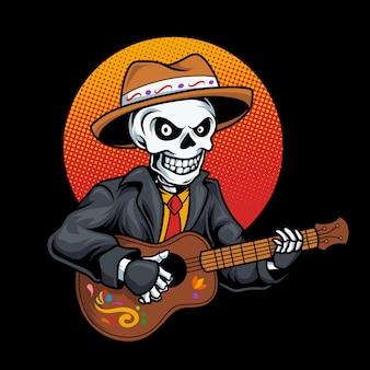 Teschio di dia de los muertos che suona la chitarra