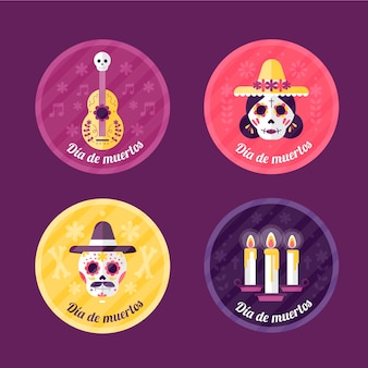 Collezione di badge dia de muertos