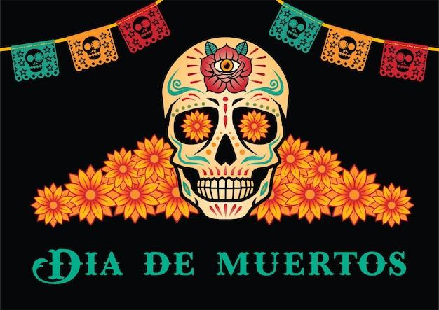 Dia de muertos o giorno dei morti. festa messicana.