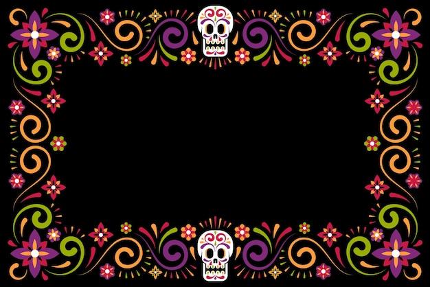 Dia de muertos cornice floreale per le vacanze con teschio di zucchero giorno della celebrazione del carnevale messicano morto