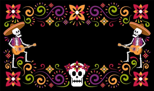 Volantino floreale di halloween messicano dia de muertos giorno dei morti con scheletri